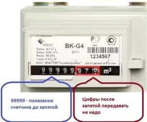 Показания на счетчике газа