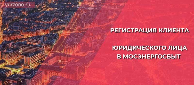 Регистрация клиента-юридического лица в Мосэнергосбыт