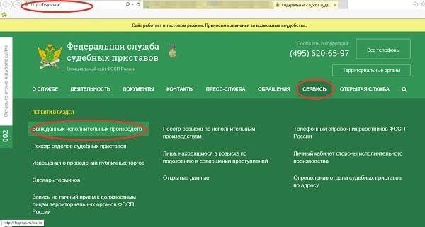 Скрин сайта ФССП 1